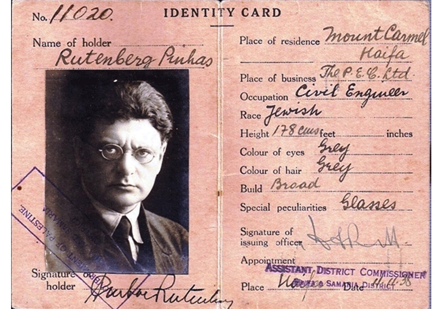 Pinhas Rutenberg Mandate ID