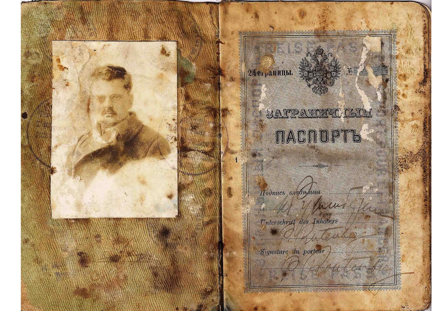 Pinhas Pierre Rutenberg 1919 Odessa passport