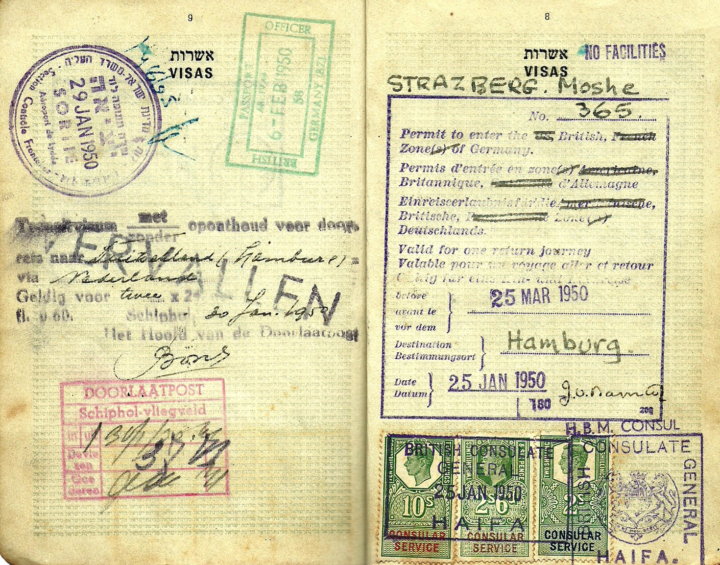 British zone entry permit to Germany - Israel 1950
