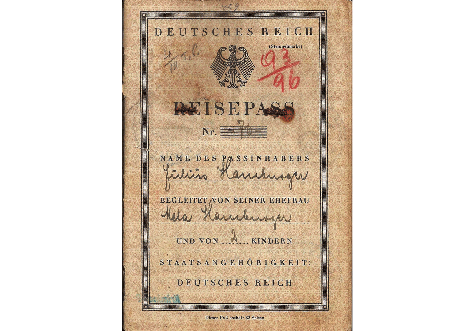 German passport for Jew 1934