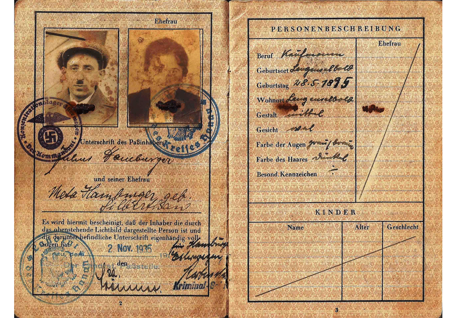 Gestapo issued German passport 1934