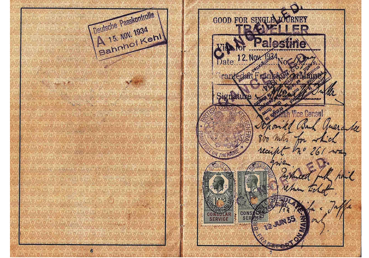 British visa for Palestine 1934
