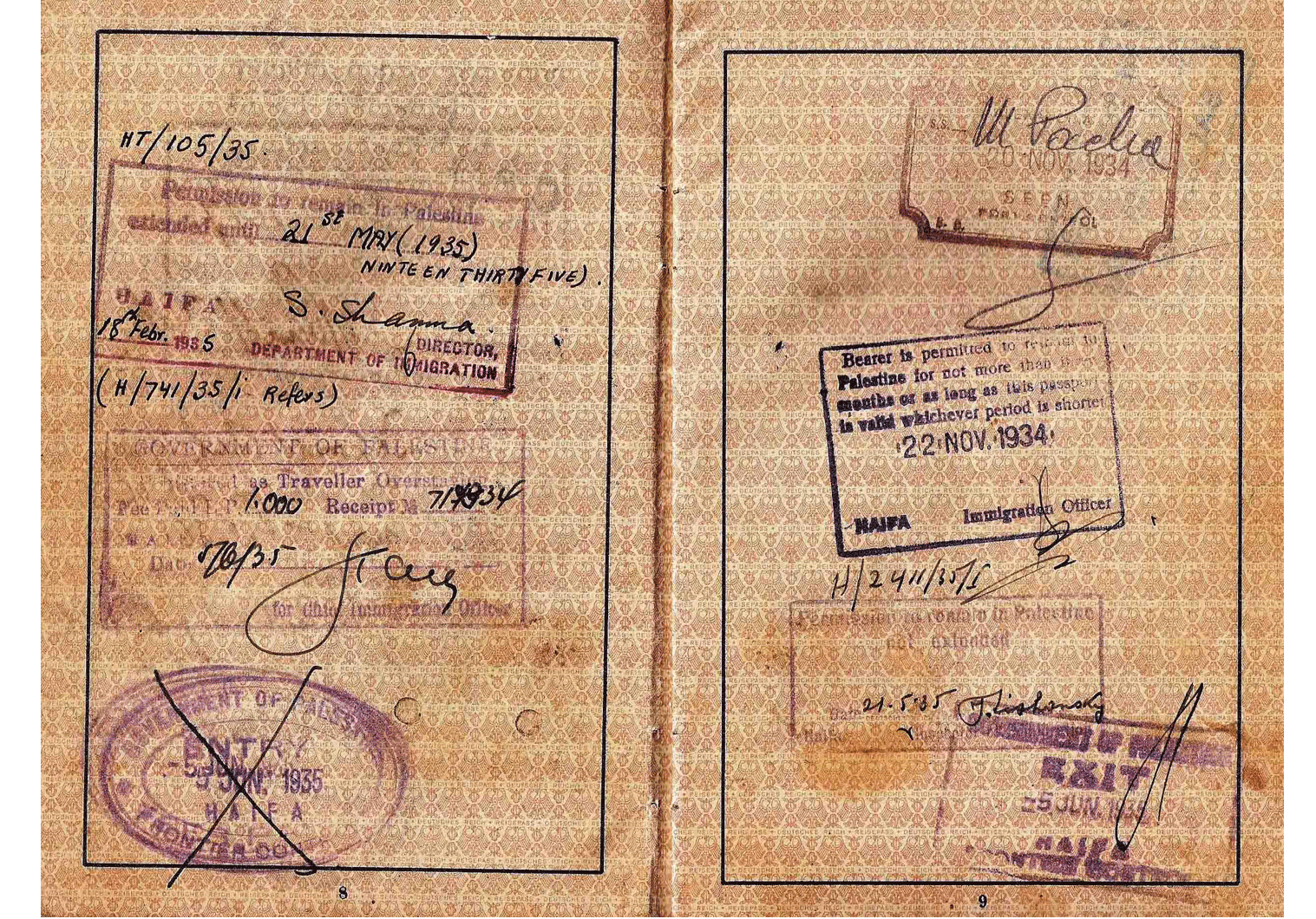 1935 entry to Palestine passport