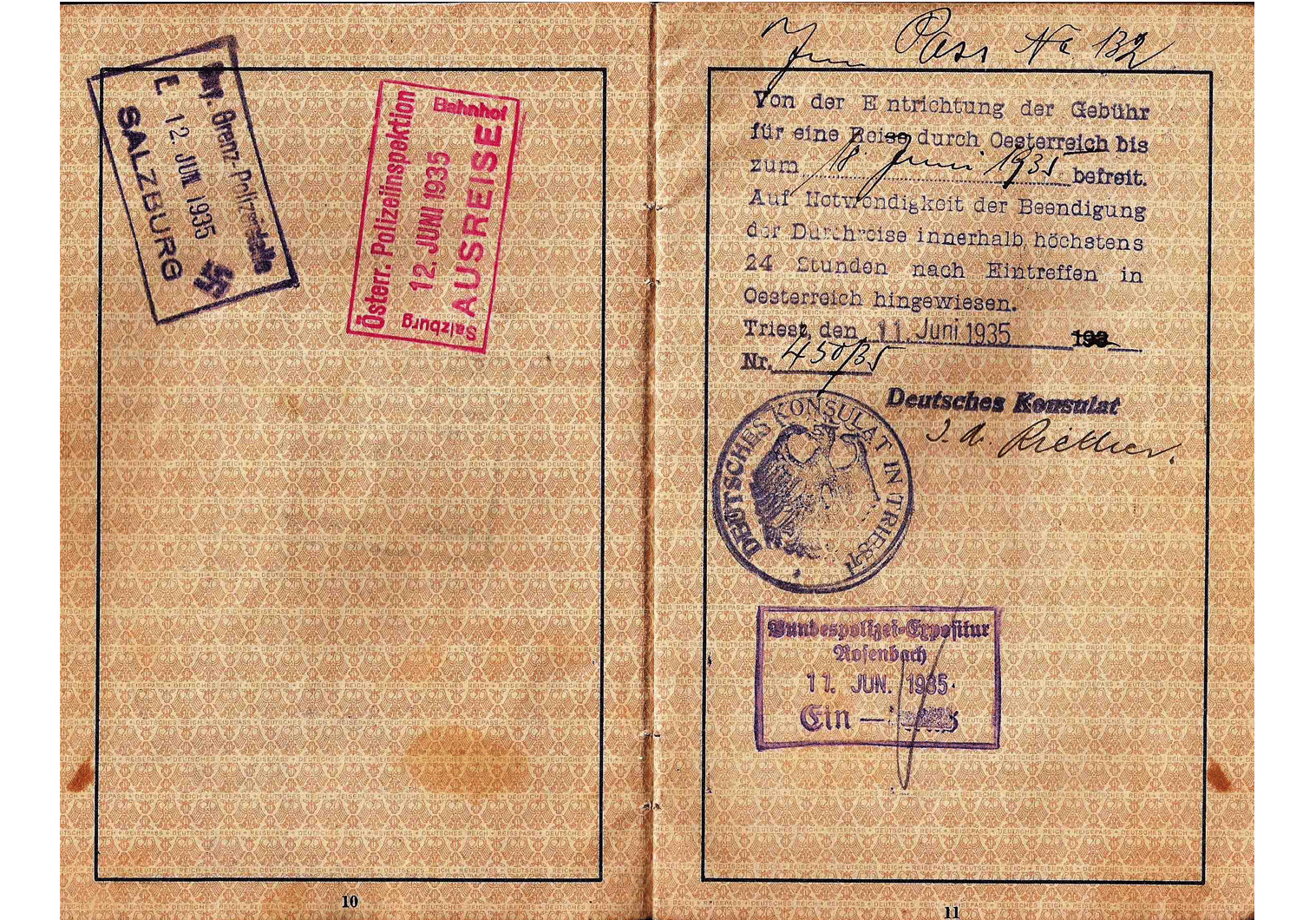 1936 German consulate visa