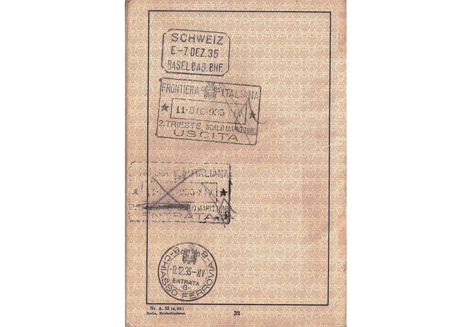 German passport page 1935