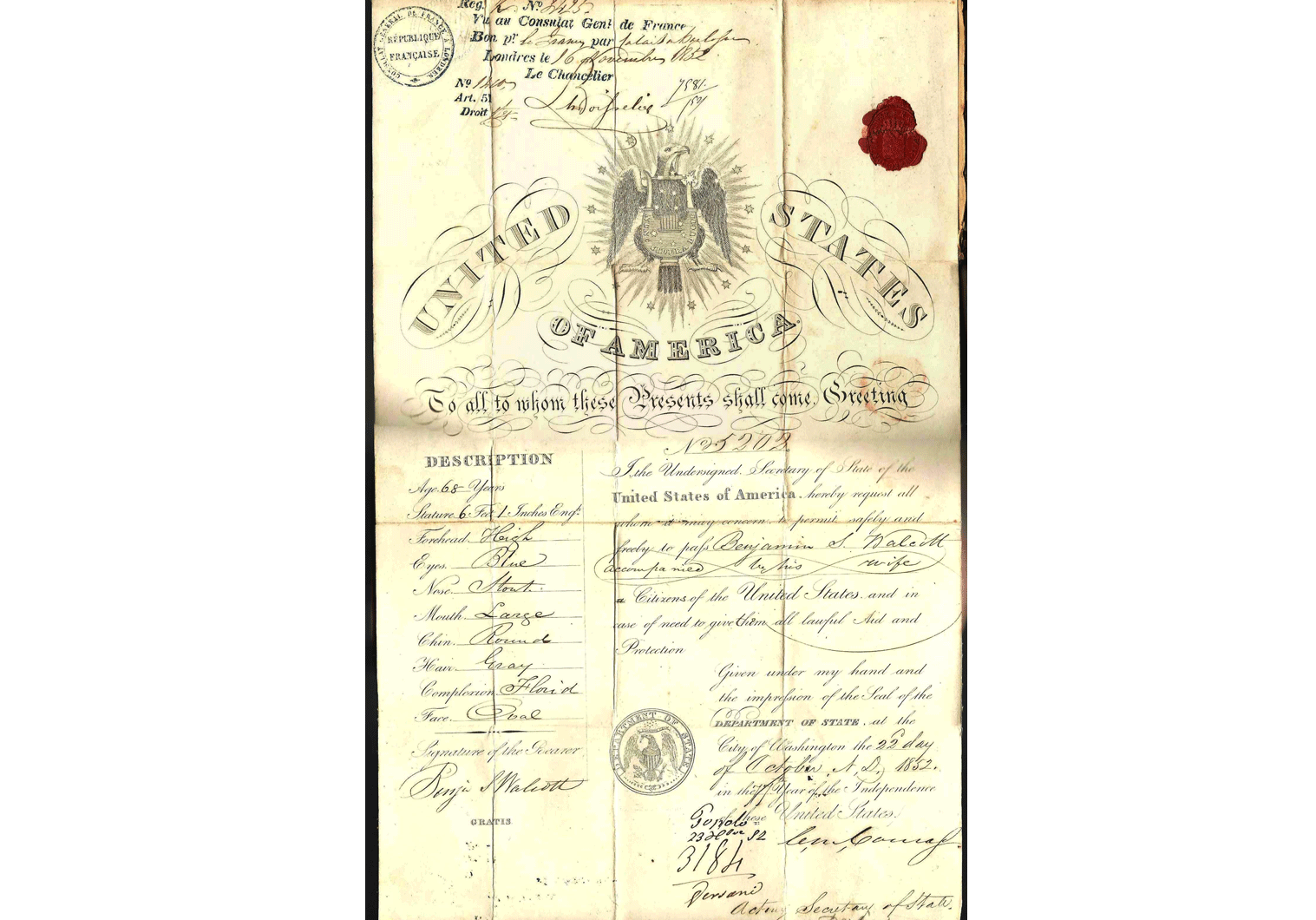 antique US passport for the Middle East 1852