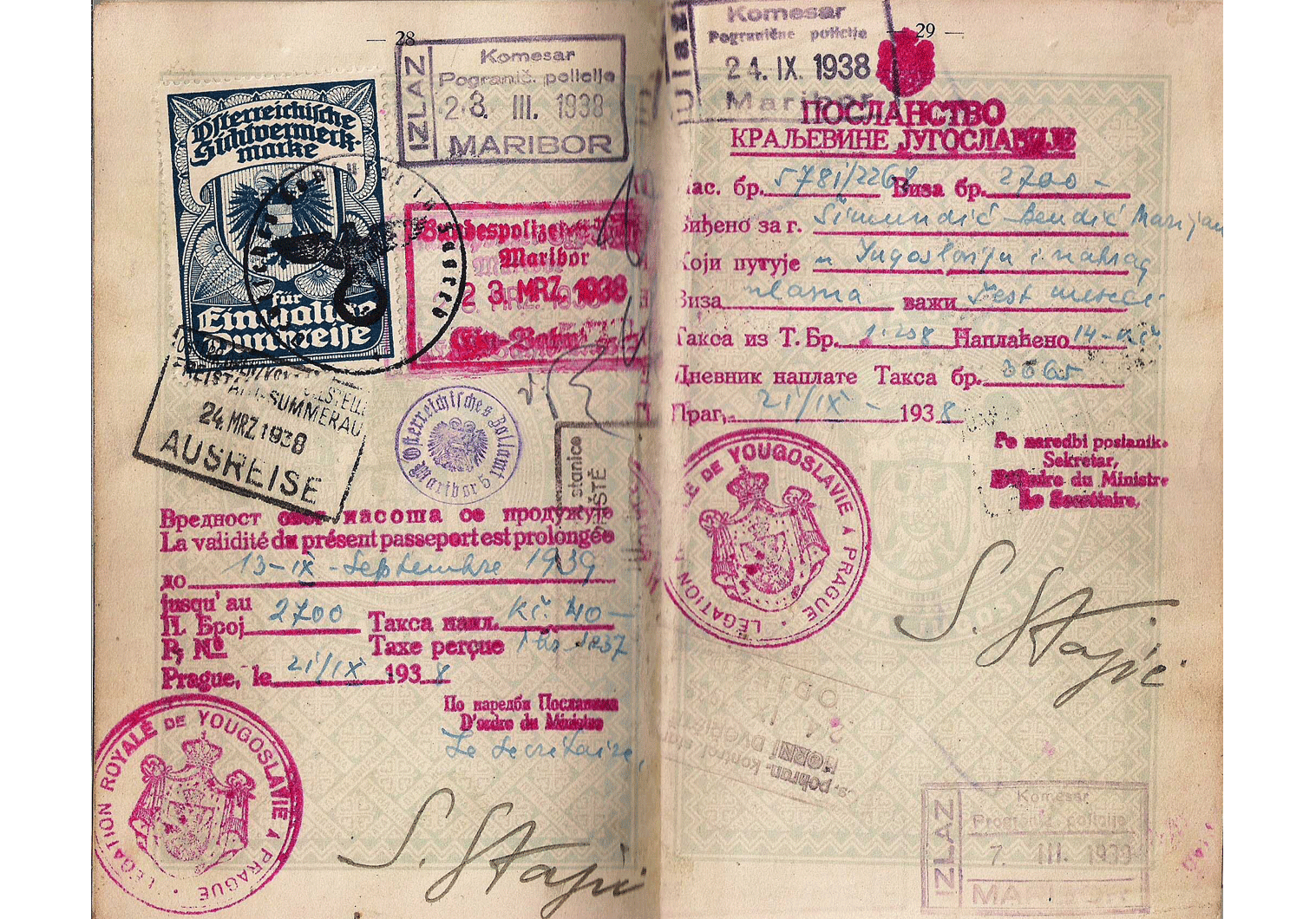1938 German visa for occupied Austria.