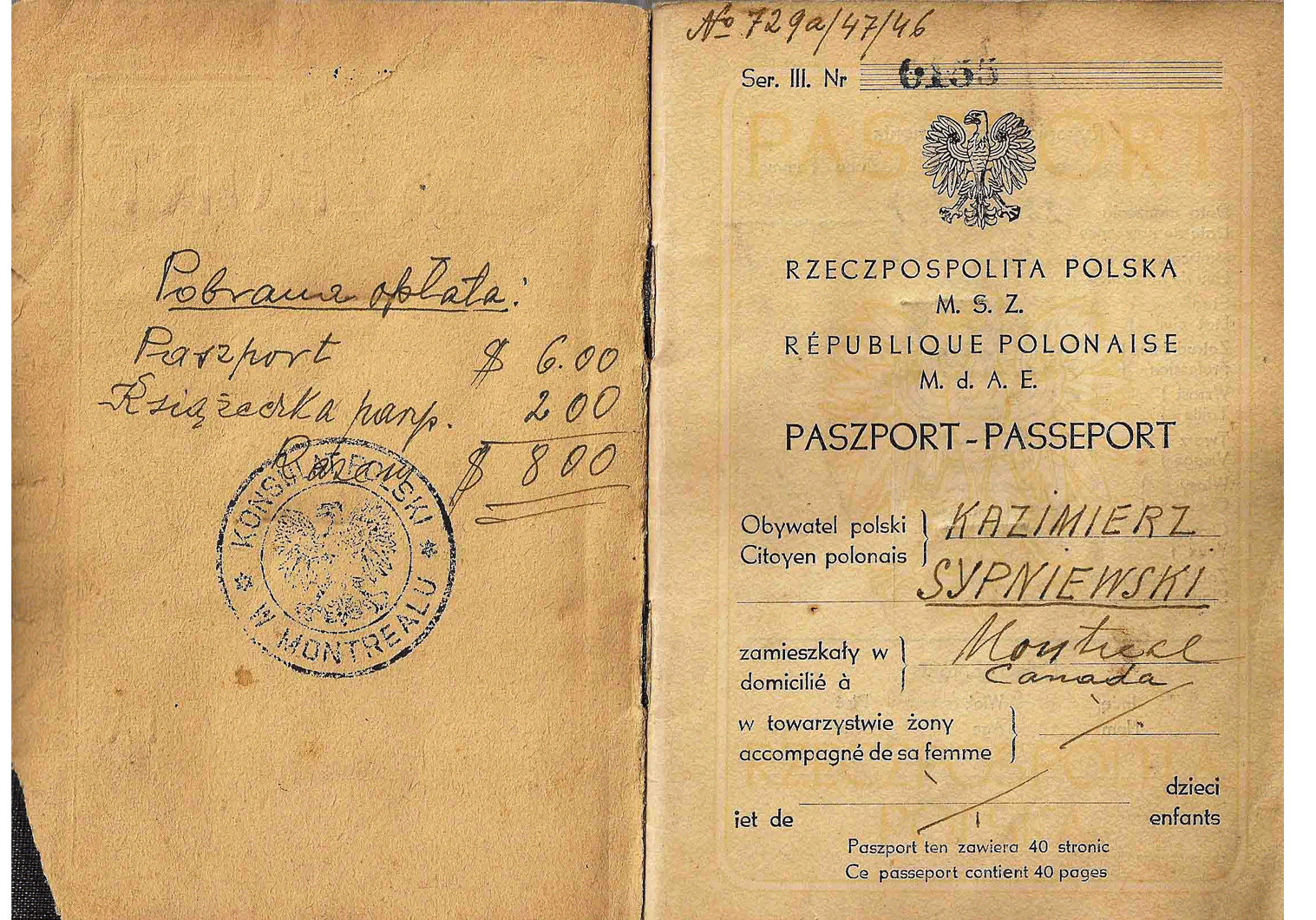 1946 Polish passport