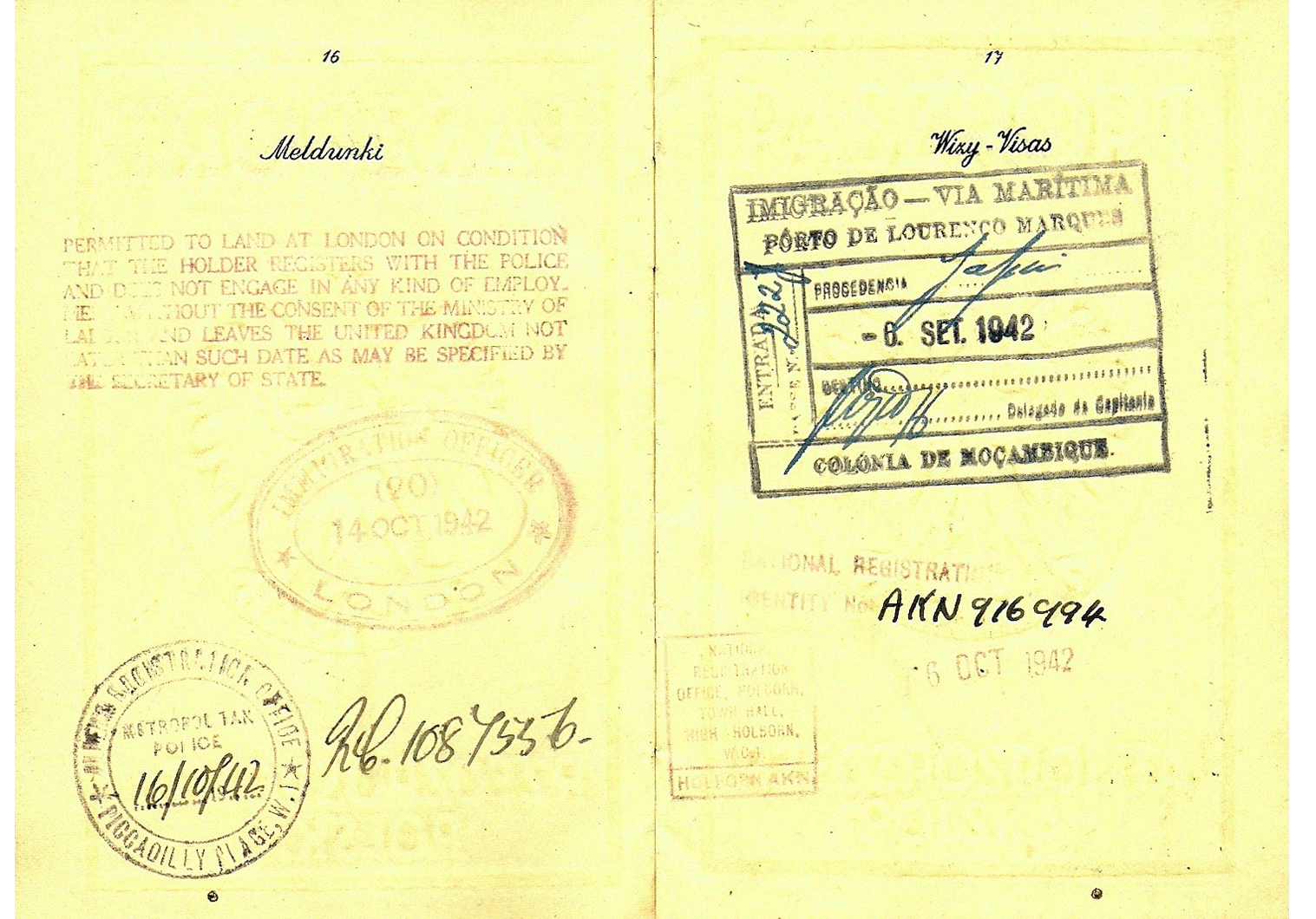 Mozambique exchange of Allied and Enemy personnel passport image