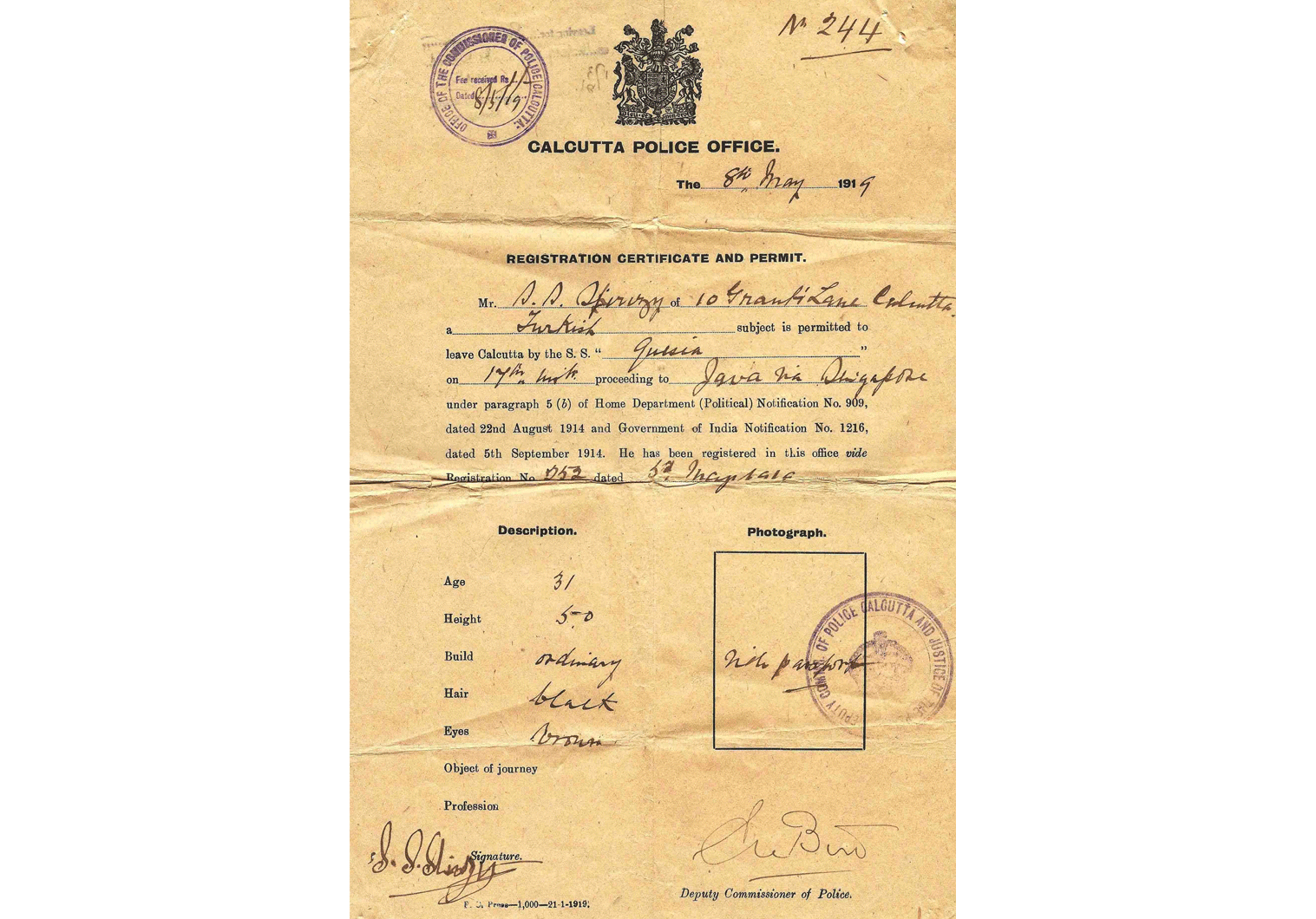 1919 interesting travel permit – Bombay