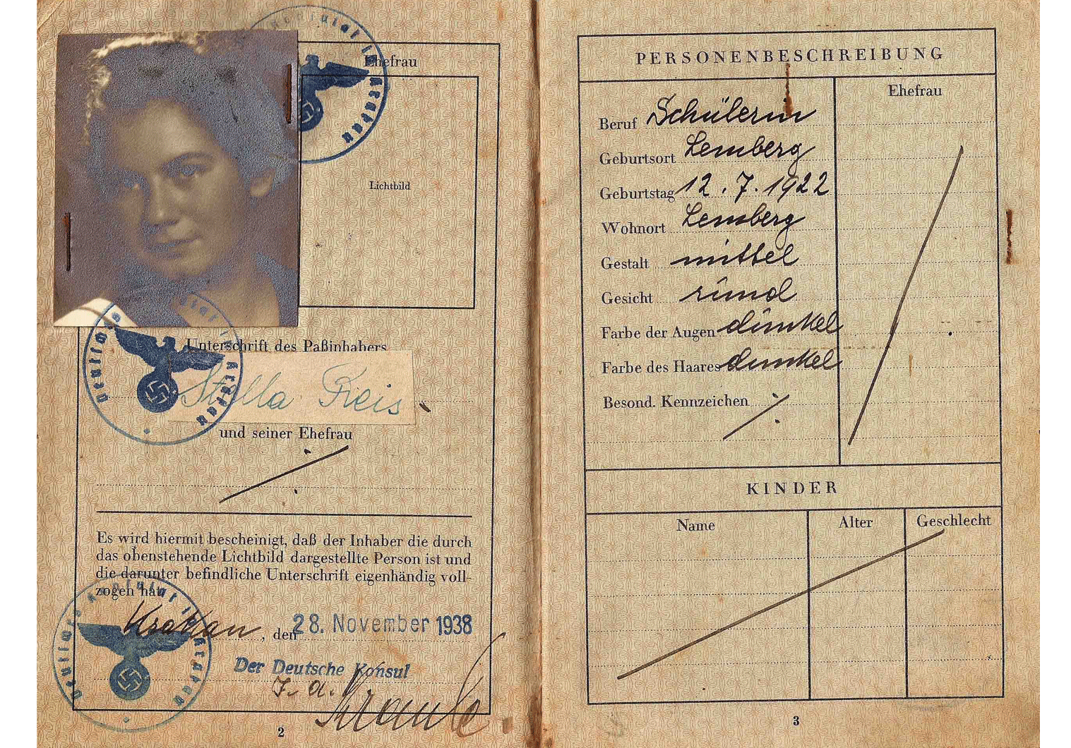 J stamped German passport