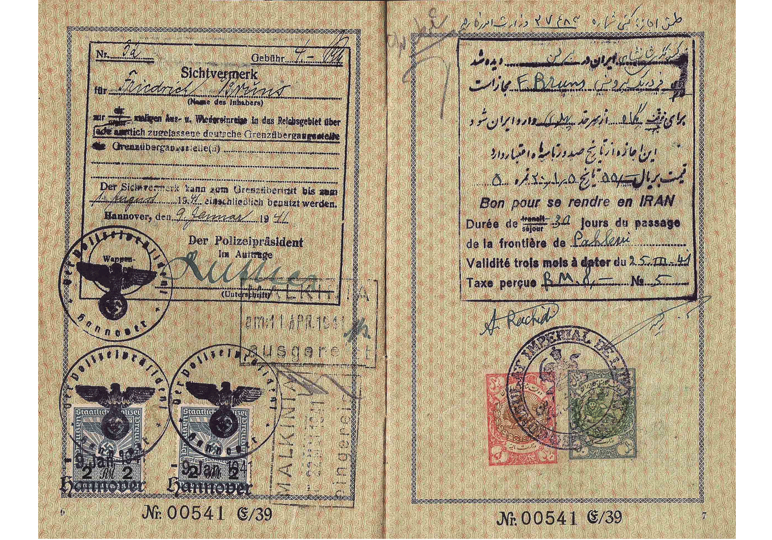 Iranian visa WW2 - German passport