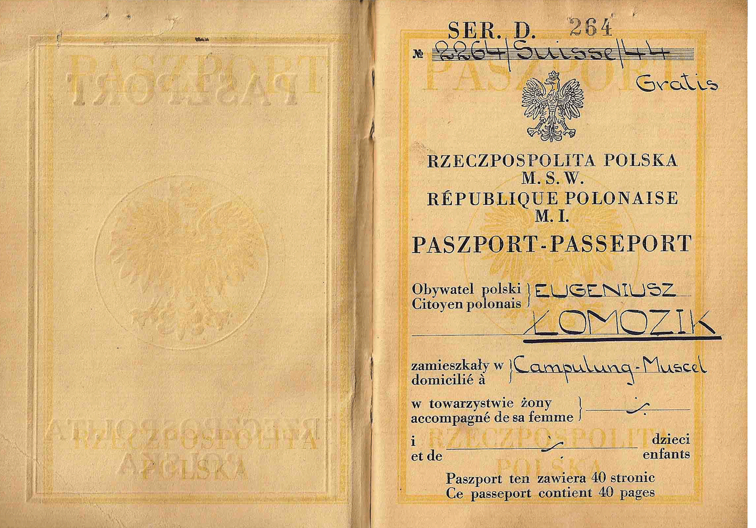Berne printed Polish Passport