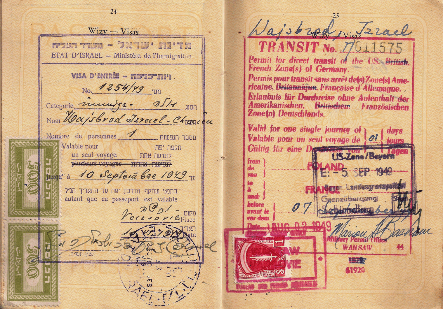 Israel & Allied visas late usage by September 1949