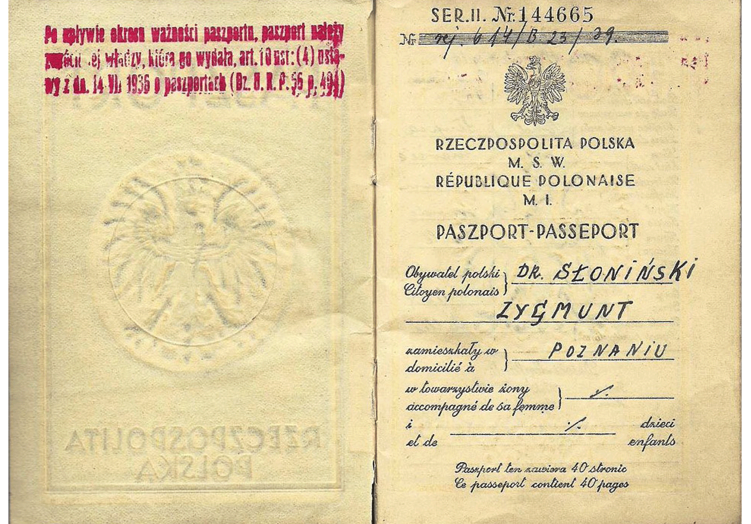 Katyn victim 1939 Polish passport