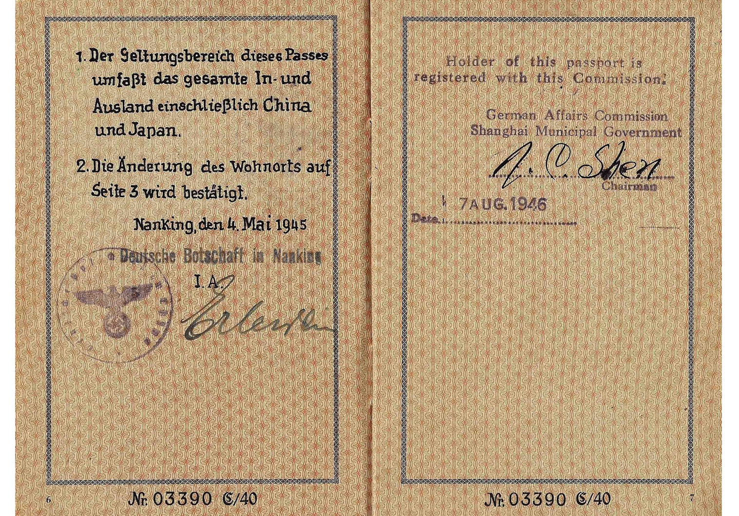 German passport issued in China WW2