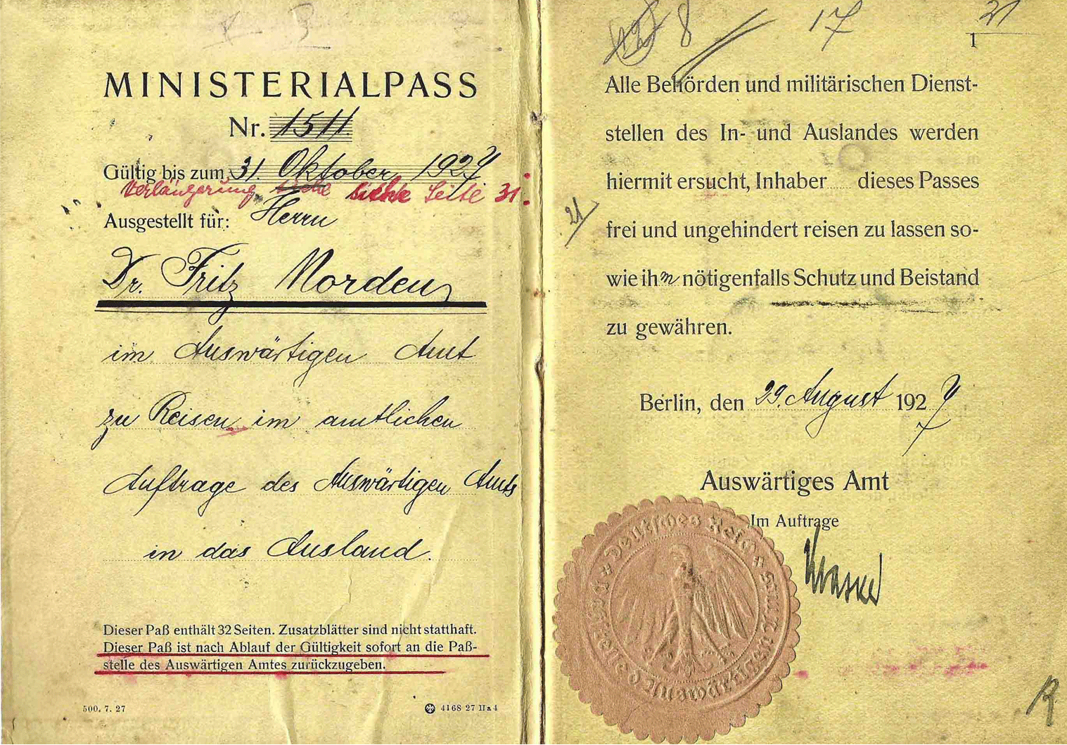 Weimar Republic German diplomatic passport