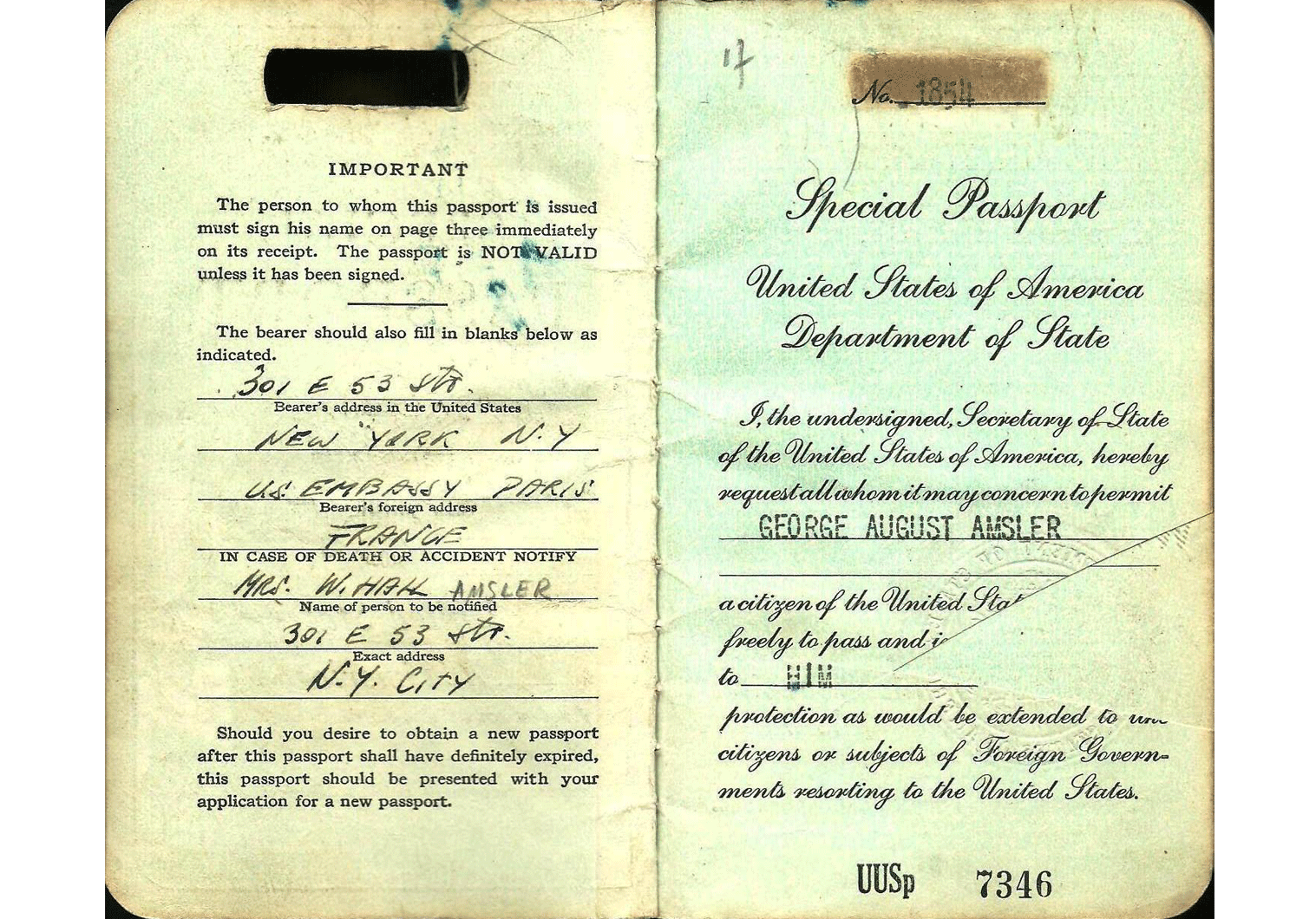 WW2 US special passport