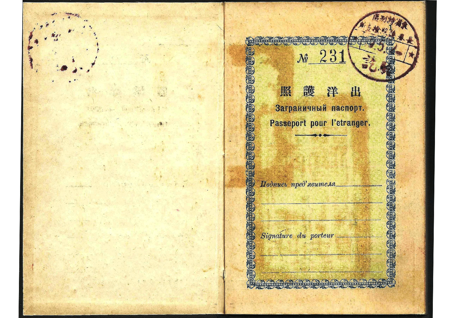 Chinese  passport - old travel document