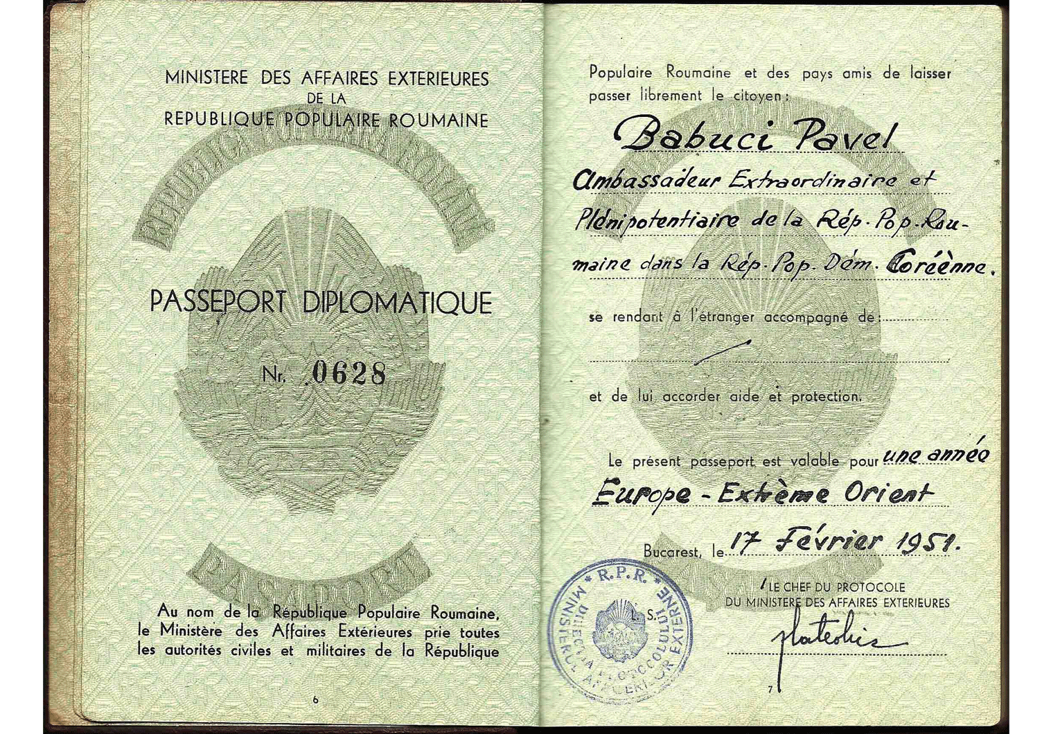 Rarest of visas - North Korean Diplomatic visa inside a 1951 passport