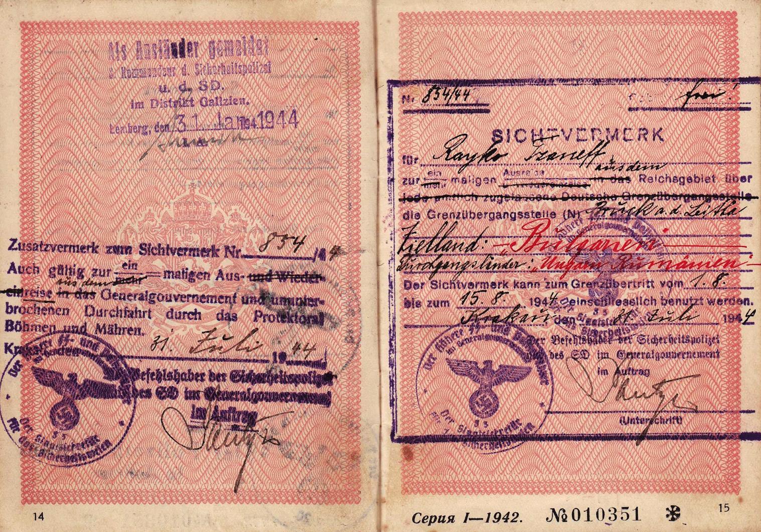 SS visa inside passport