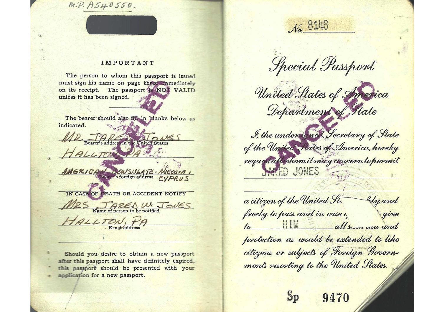 US special passport Iran visa