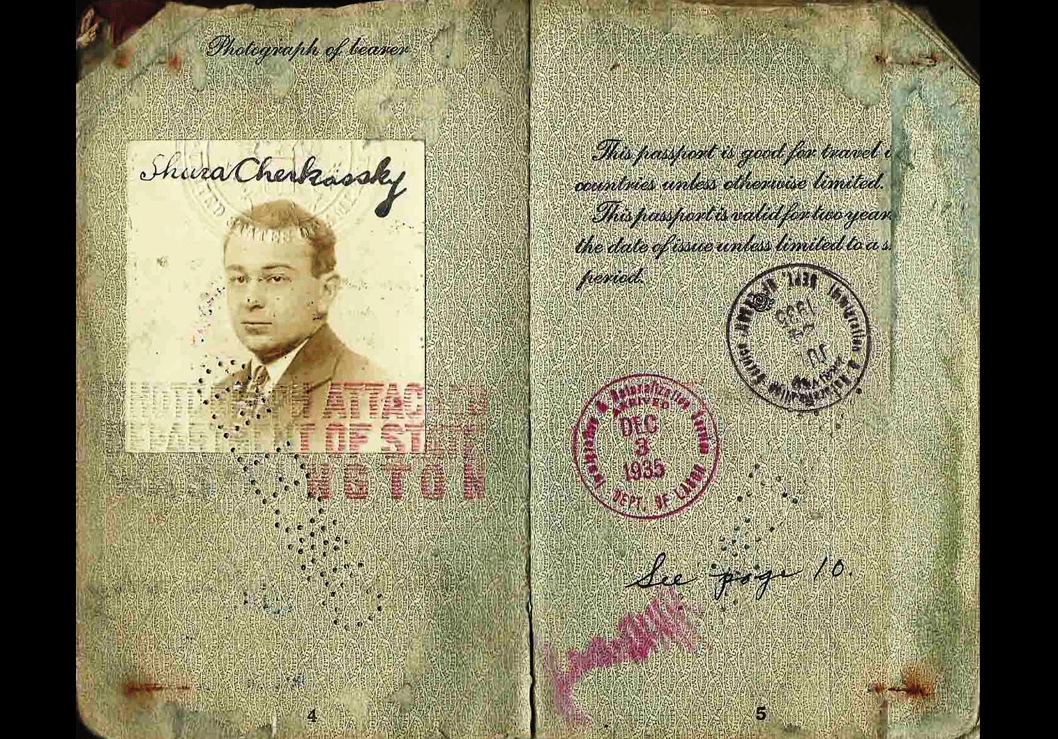 Shura Cherkassky passport.