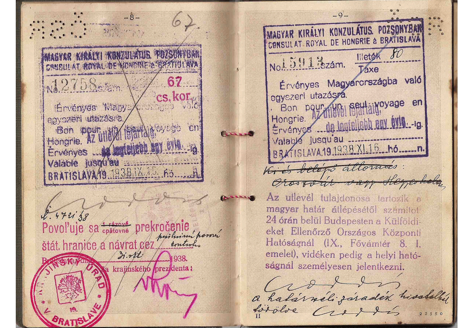 WW2 Czechoslovakia passport