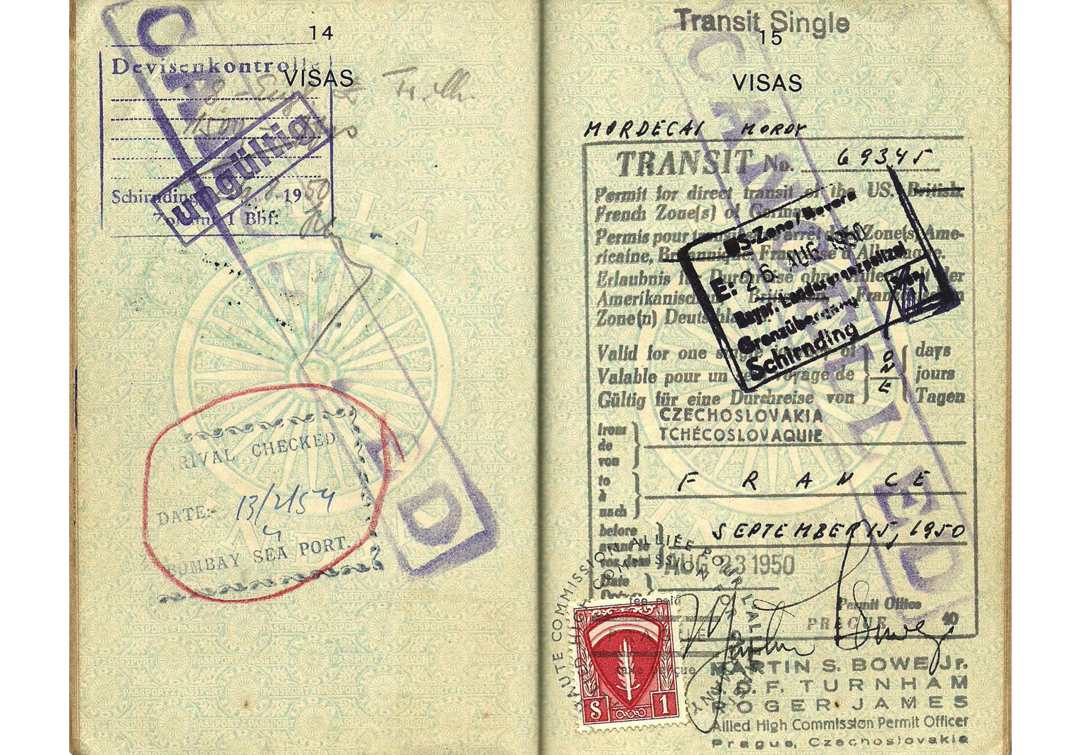 Indian passport with Allied visa