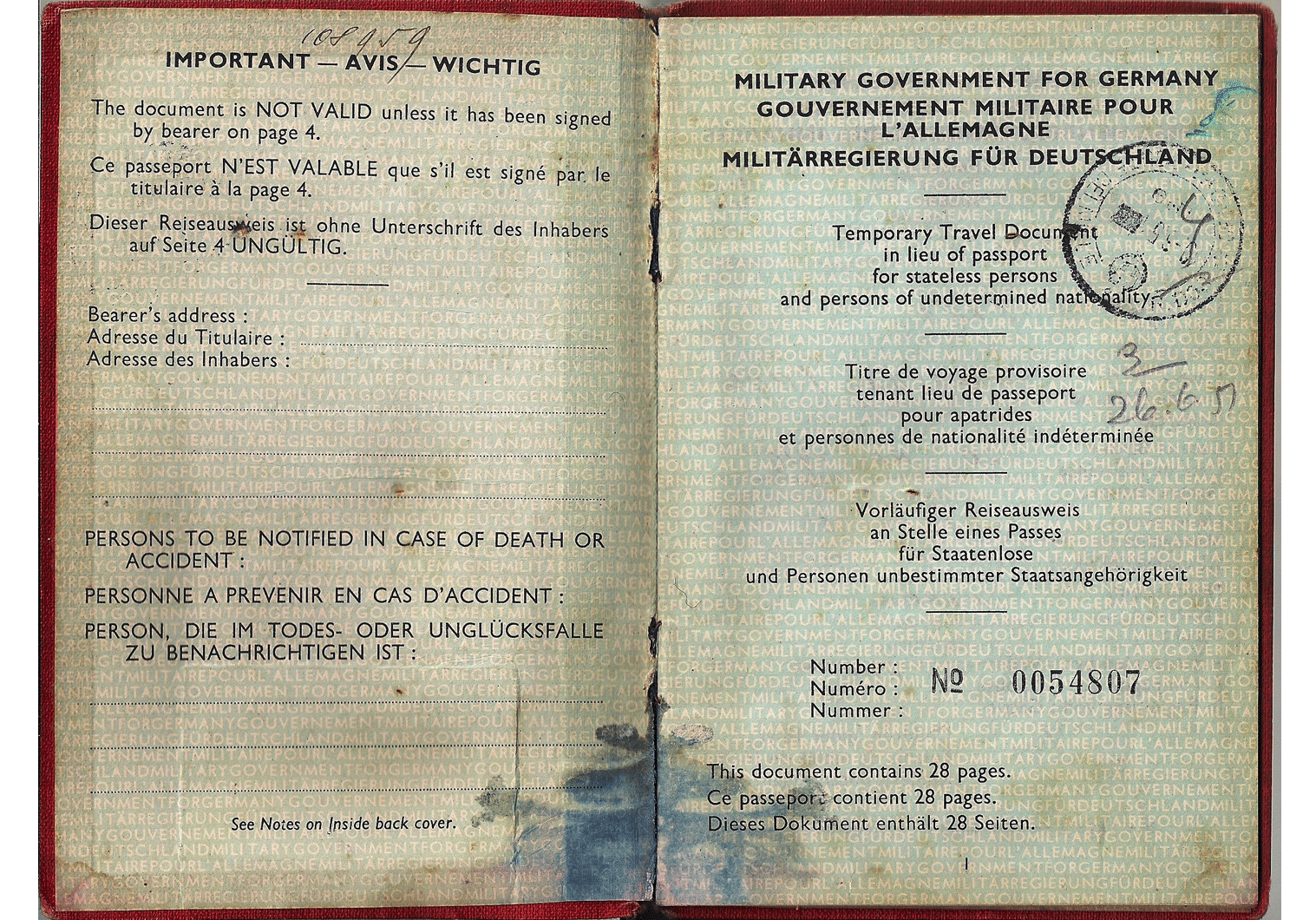 Allied Military Government passport