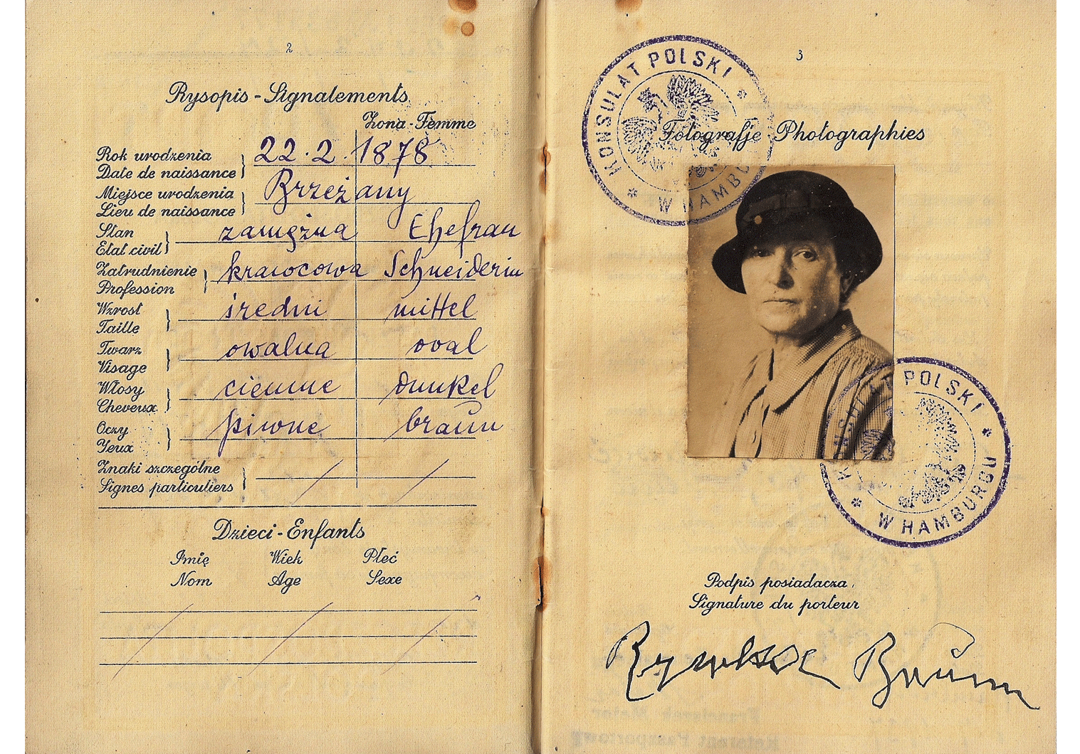 A Jewess that was expelled to Zbaszyn in 1938.