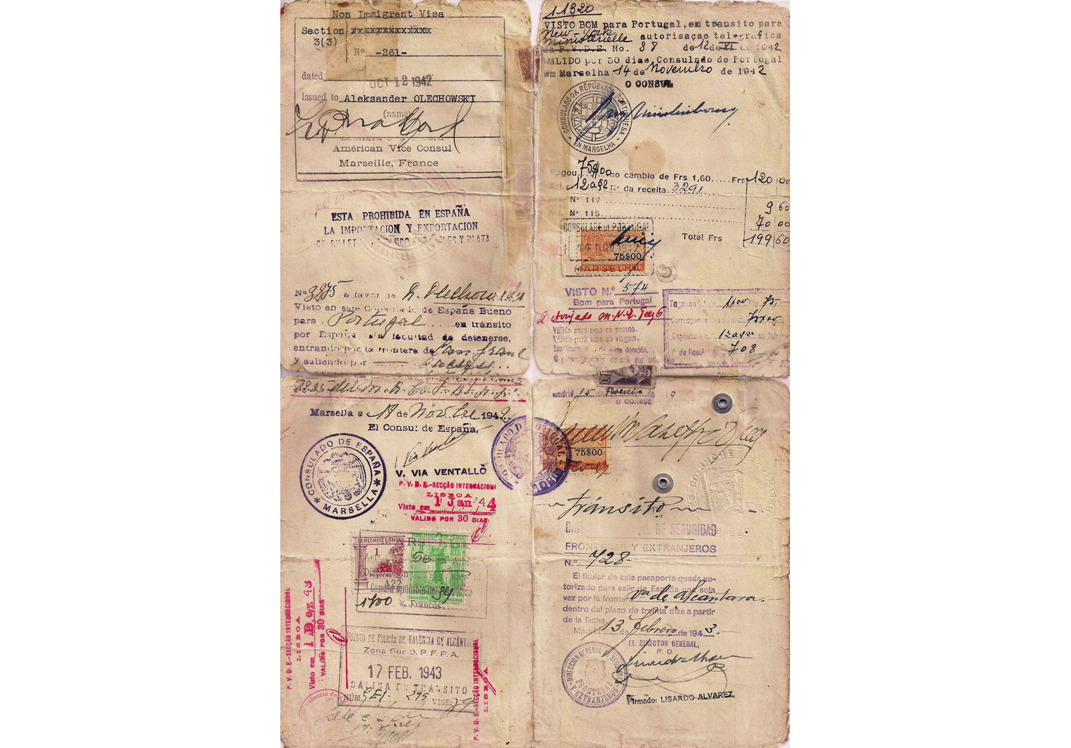 Amazing set of papers used to escape France
