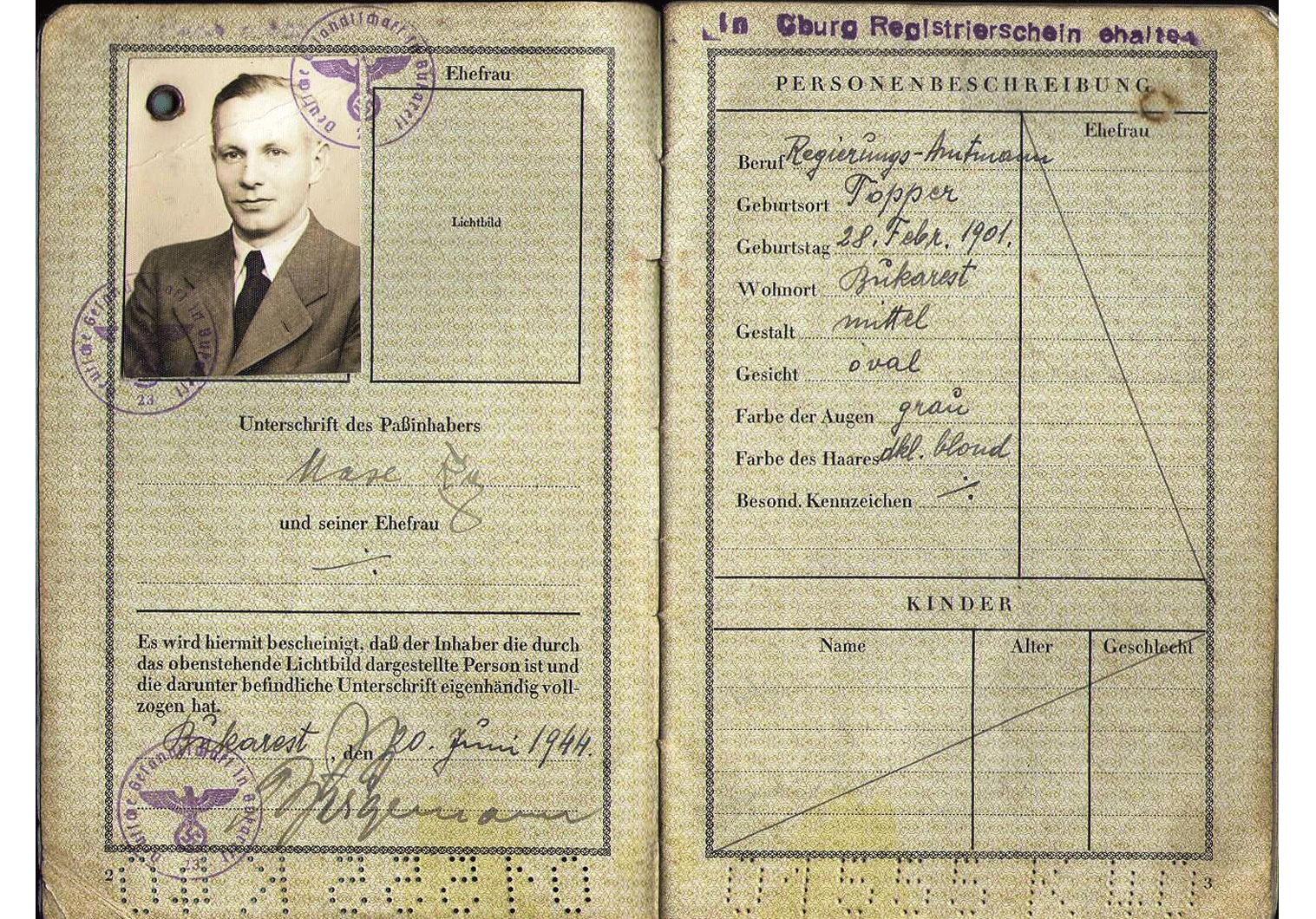 WW2 German Service Passport