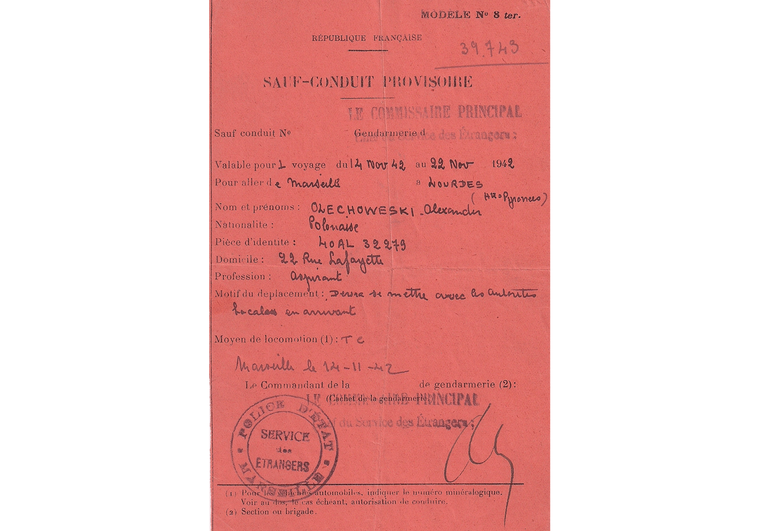 WW2 French travel document