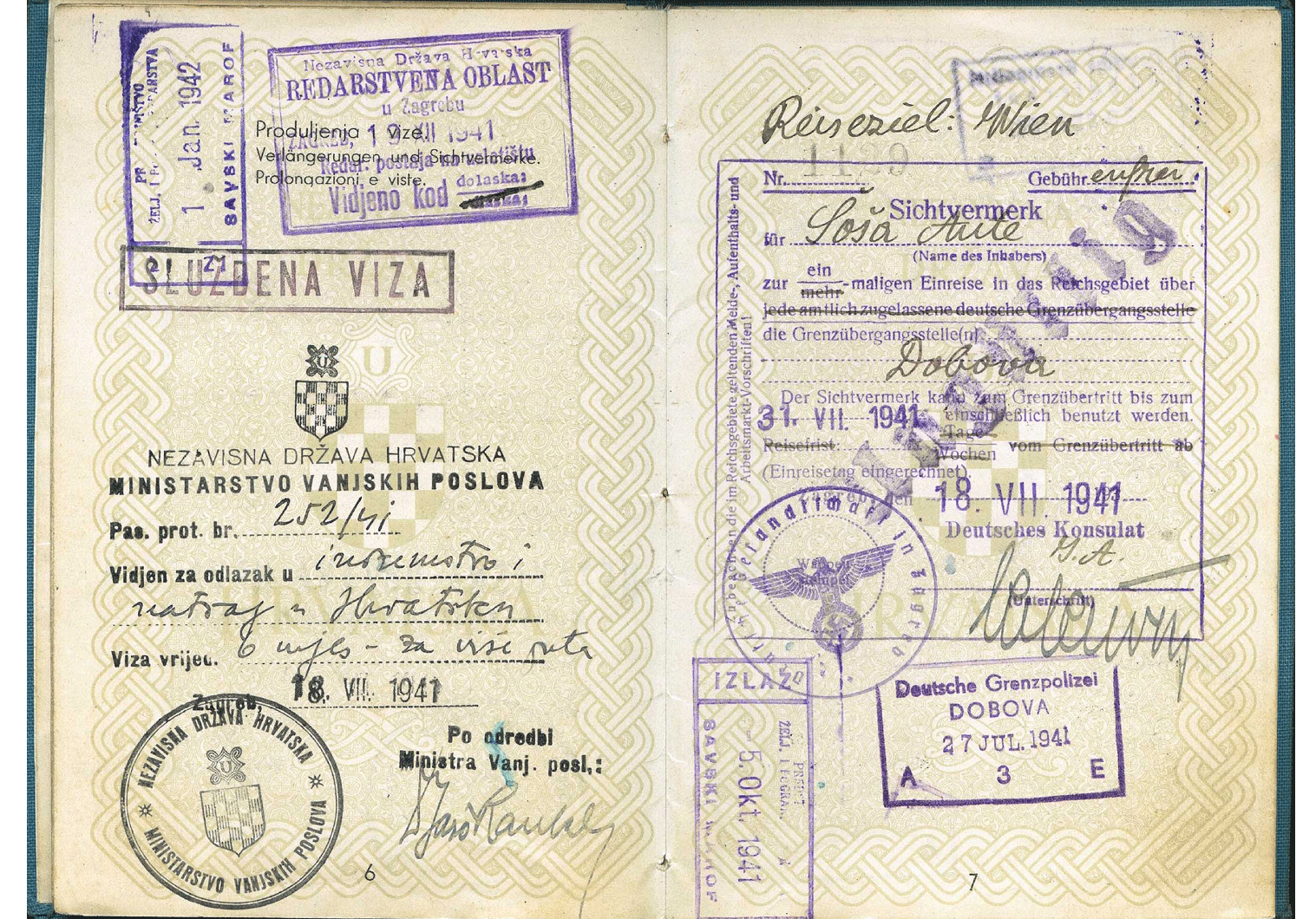 WW2 Croatian Service-Passport