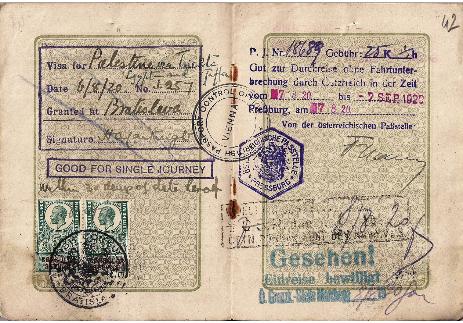 early Palestine visa