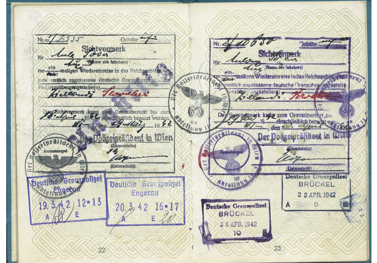 WW2 German passport visa