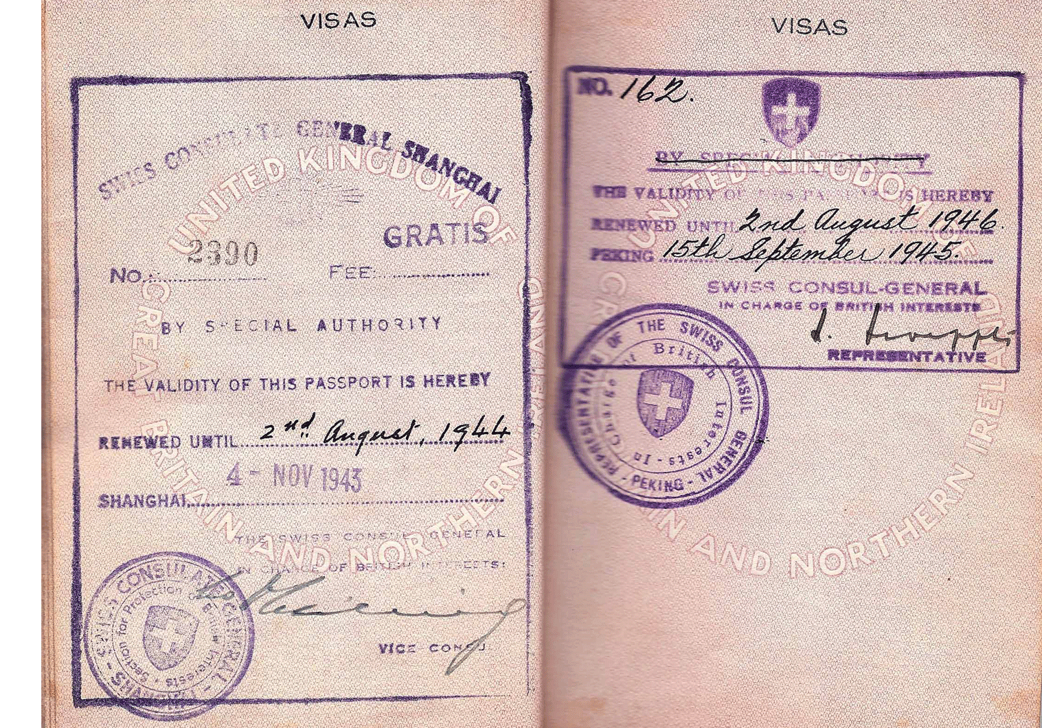 WW2 Swiss protection visa