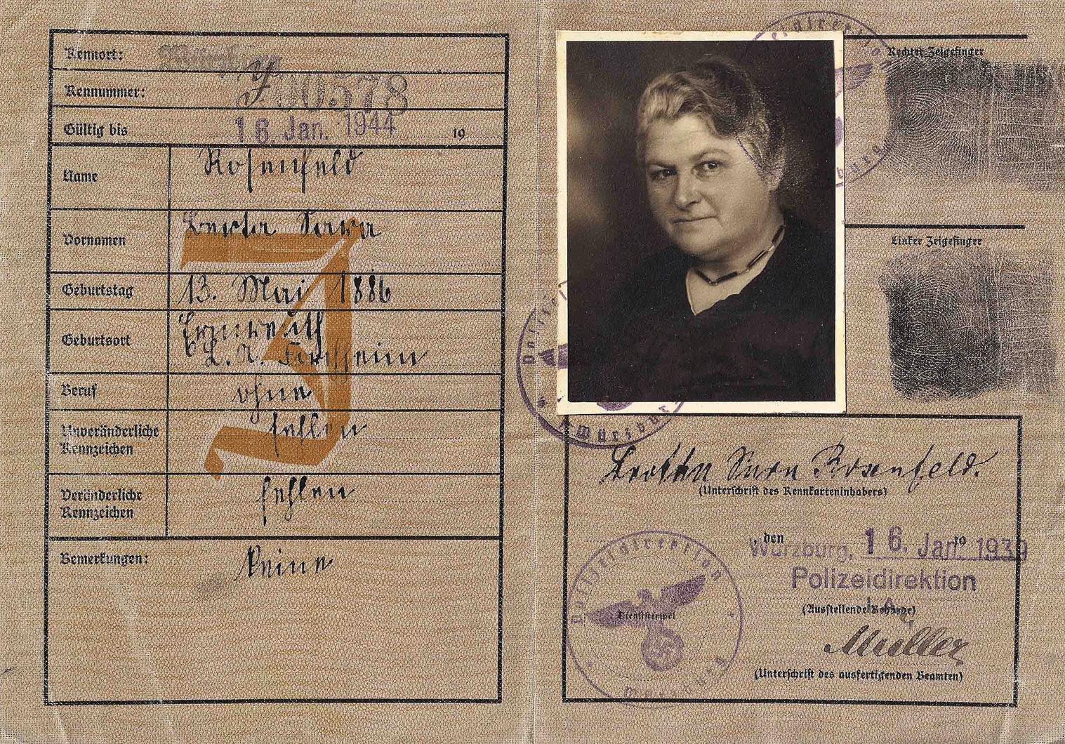 WW2 German issued Jewish document
