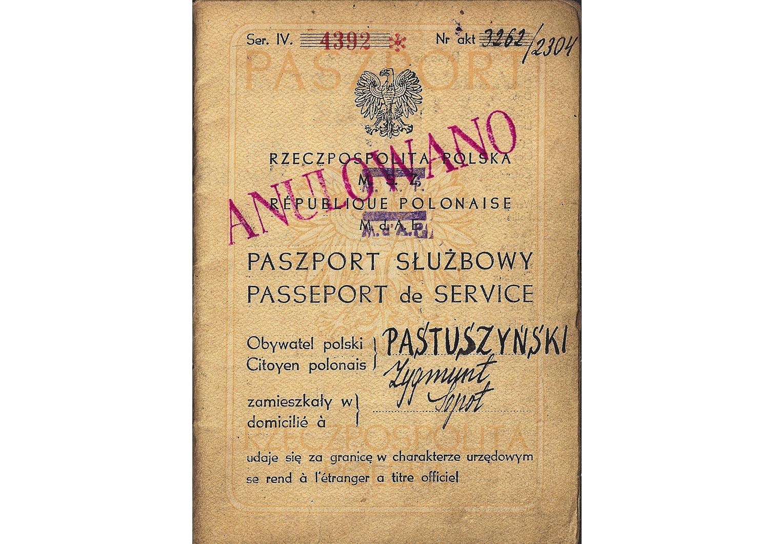 Polish service passport from 1949