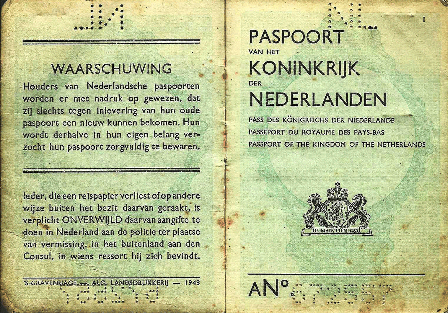 WW2 Dutch service passport