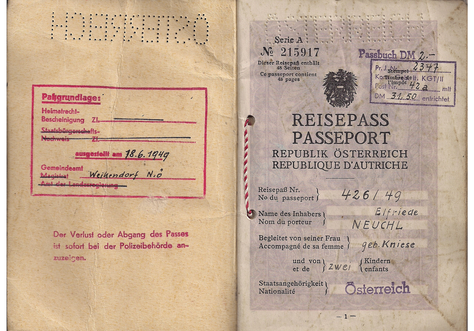 post WW2 Austrian passport
