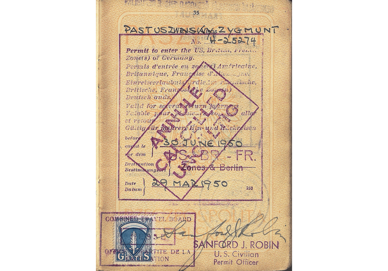 Allied Military Government visa