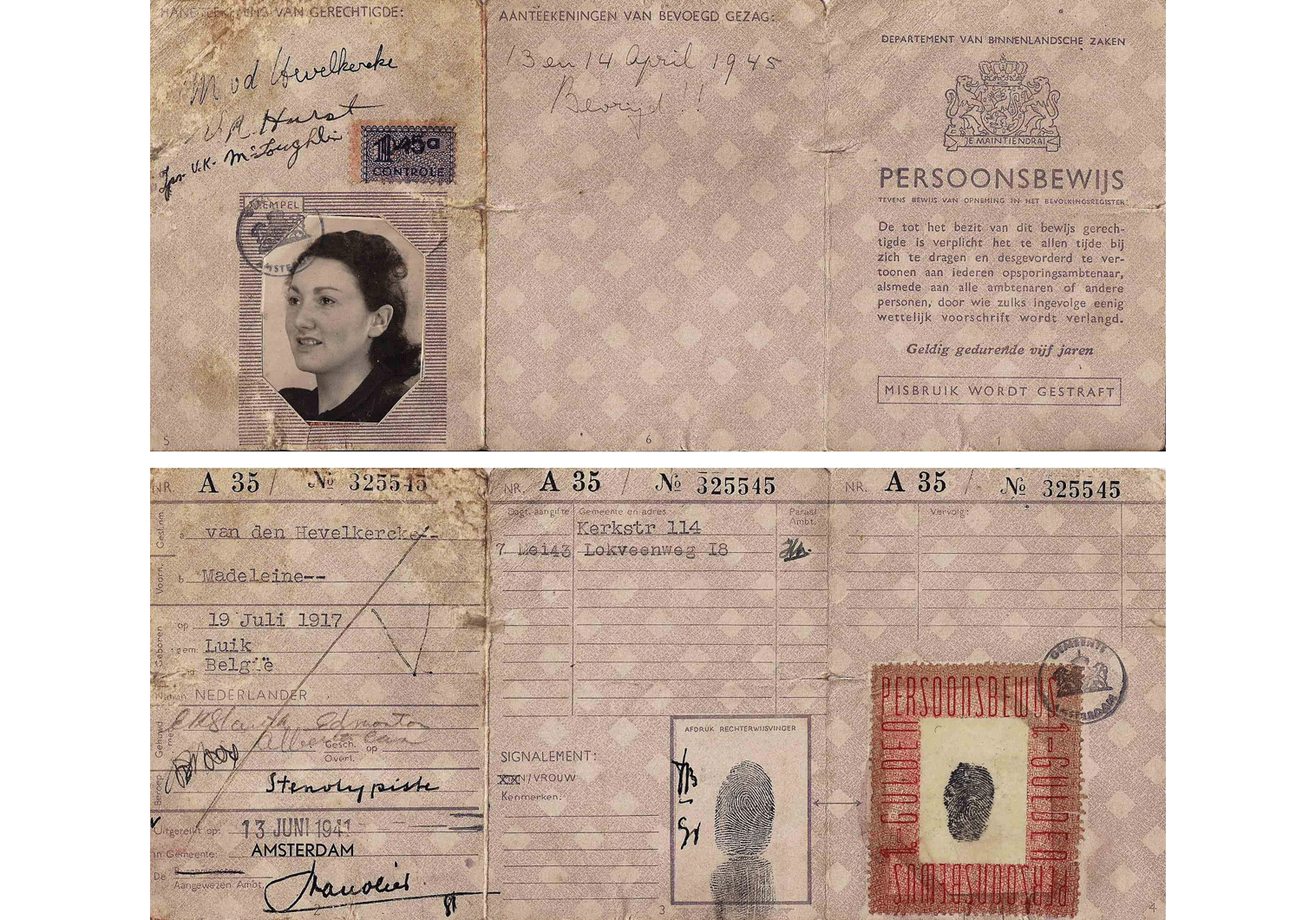WW2 fake Dutch resistance identity document for a Jew