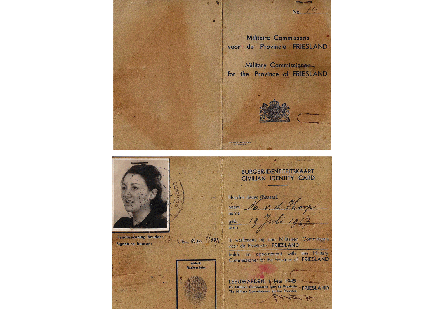 1945 Dutch liberation document WW2