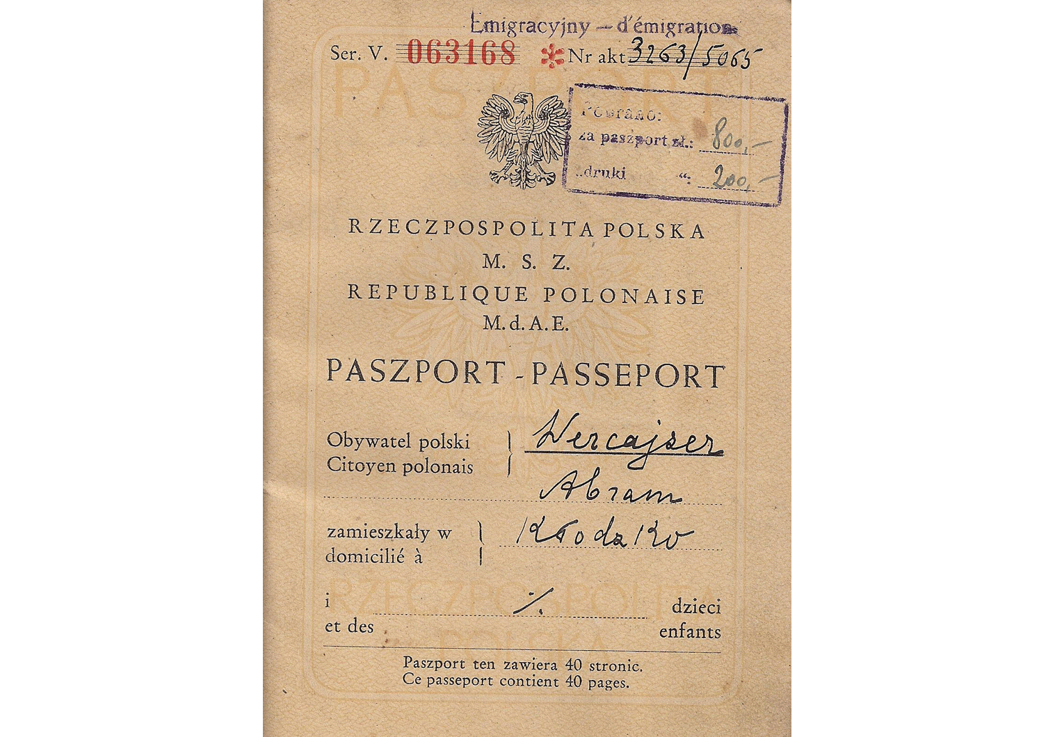 post WW2 Polish passport