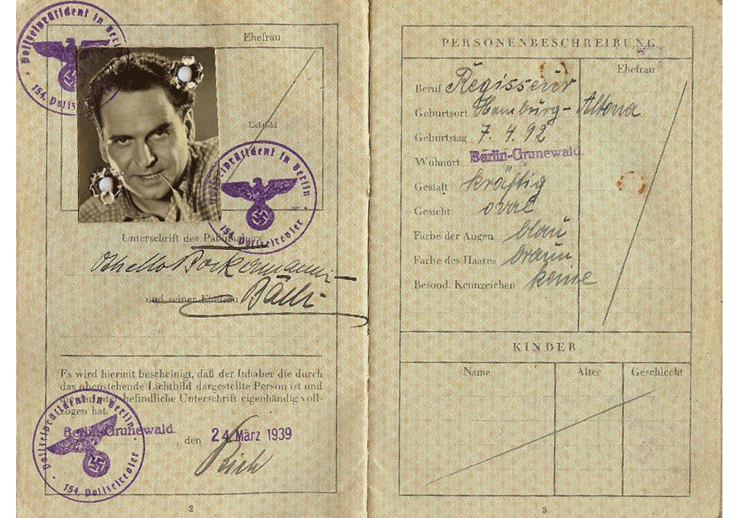 Holocaust WW2 German passport