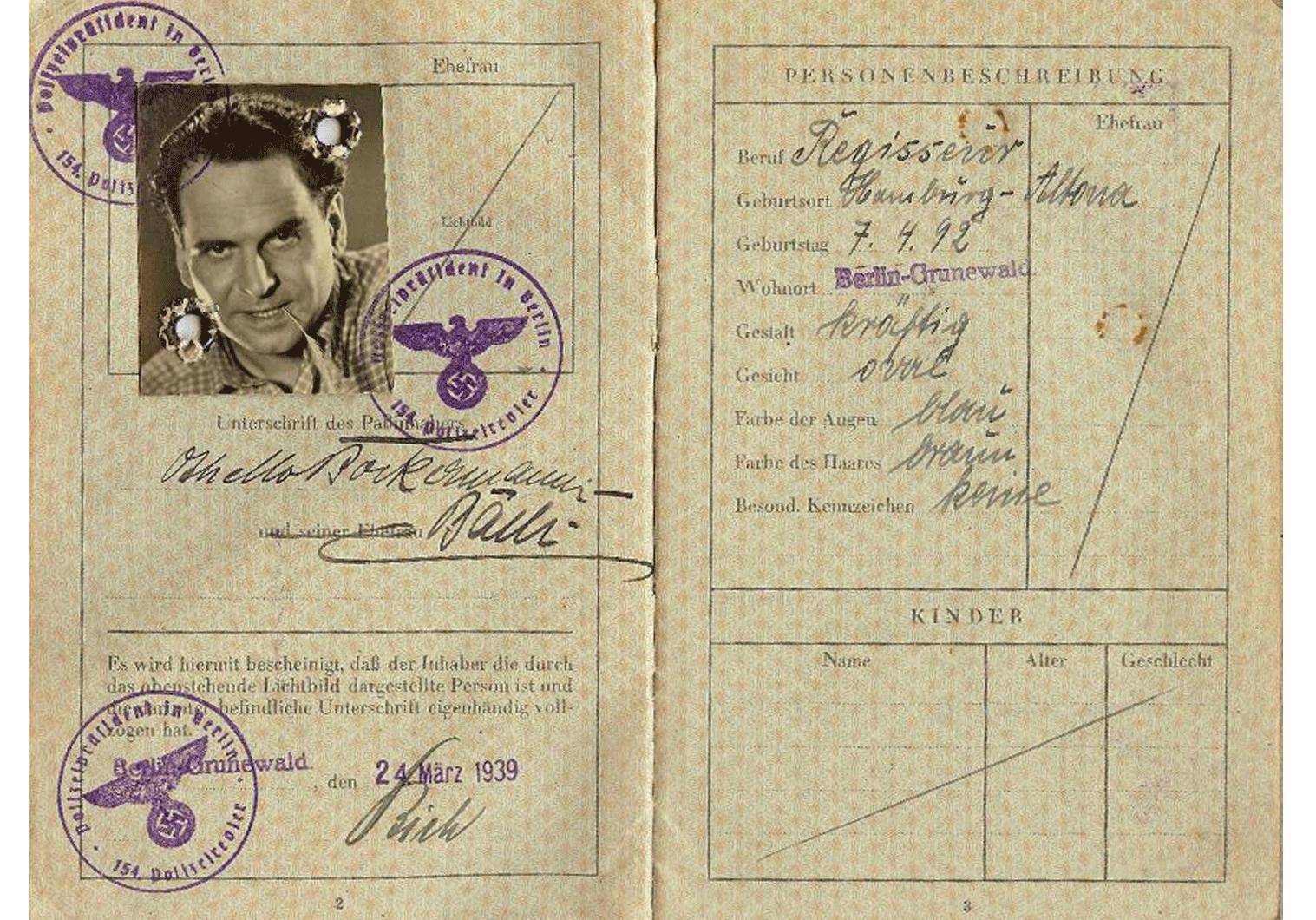 Holocaust WW2 German passport