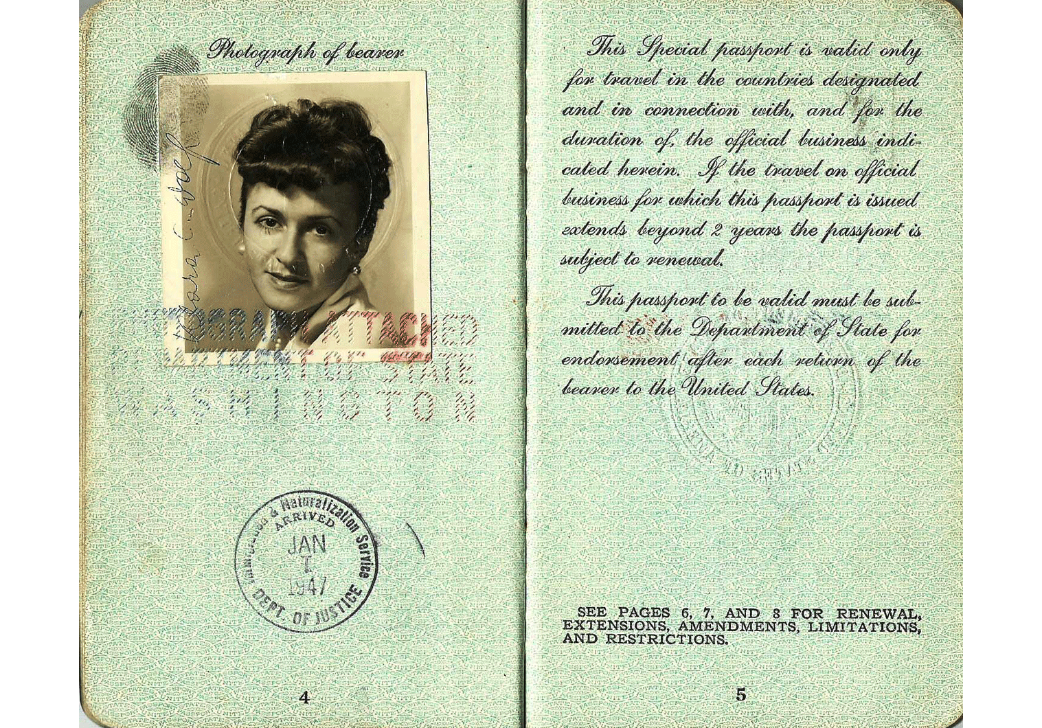 1945 US special passport