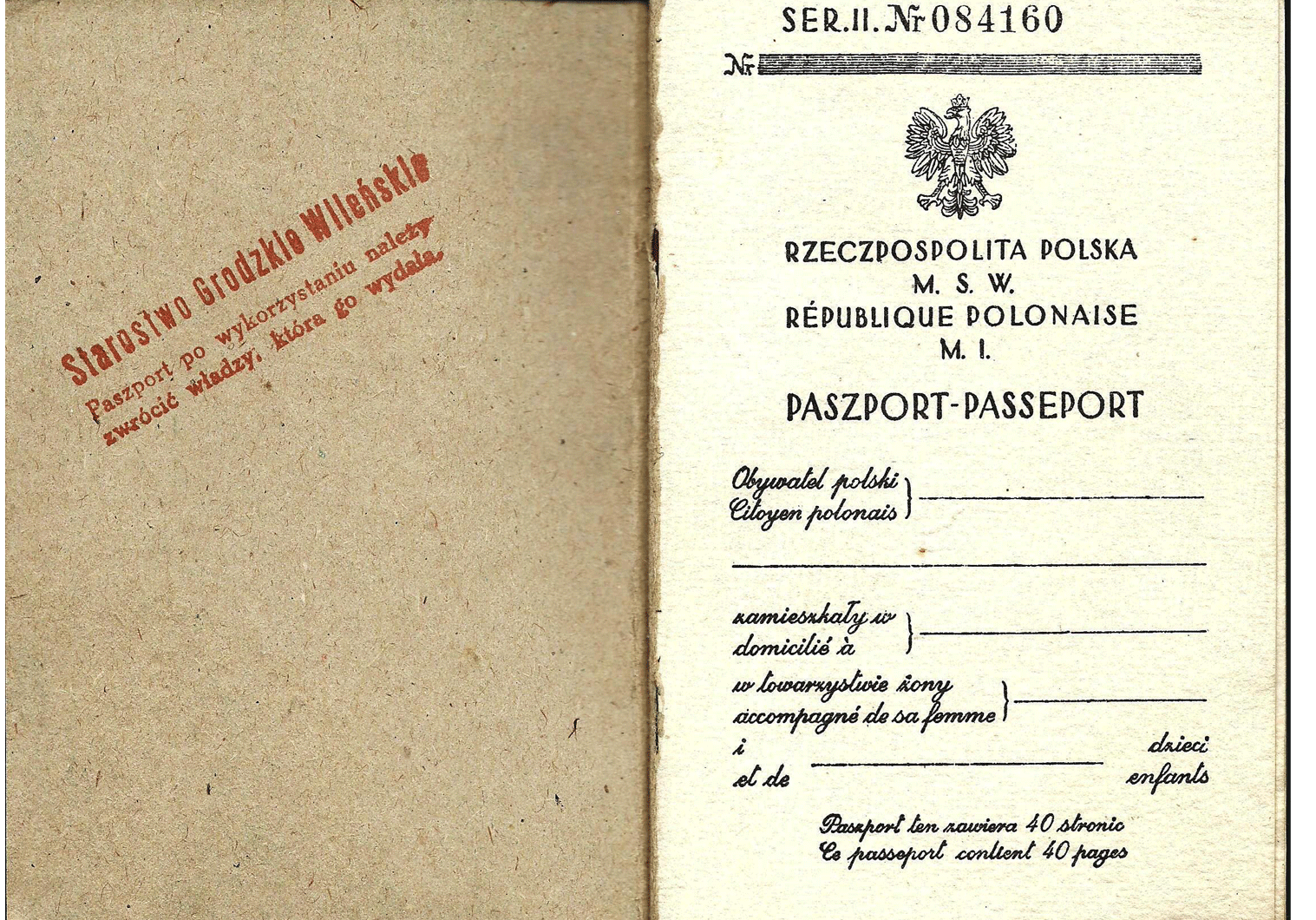 fake WW2 Polish passport